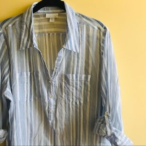 Westport 1962 blue and white vertical stripe shirt